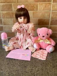 Bebê Reborn toda em Silicone realista Com urso de pelucia Nova Original (aceito cartão)