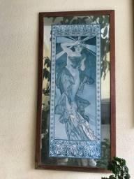 Quadro exótico com moldura de espelho com tema de meditação