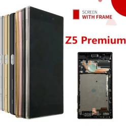 Frame para celular Sony Z5 Premium preto completo (carcaça+touch)