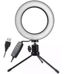 COD: 0477 Iluminador De Led Com Tripe Ring Light Usb 16cm