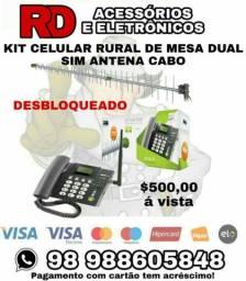 KIT TELEFONE RURAL ANTENA E CABO