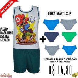 Pijama Masculino Regata Silkado Infantil + 6 Cuecas infantis slip