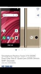 Smartphone positivo twist 3 fit,dual chip tela 5?quadro core 32 Gb  câmera 5Mp dourado