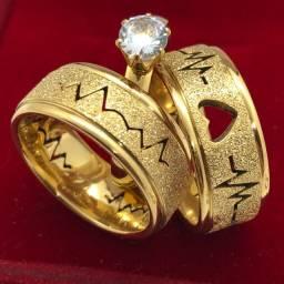 Par aliança 8mm banhada folheada ouro 18k batimentos cardíacos coração vazado