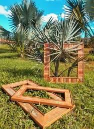 Moldura Rústica para Espelho Wing em Madeira de Demolição - Cód 1446