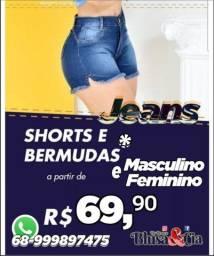 Shorts e bermudas jeans com* elástano