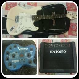 Guitarra Douphin + Amplificador Meteoro Nitrous Drive 15 + Pedaleira V-Amp 2