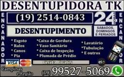 Desentupidora no Jardim Eulina em Campinas (19) 2514-0843 ou 99527-5069 Visita Grátis