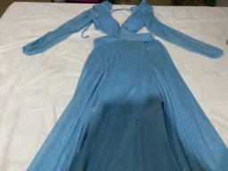 Vestido longo azul de festa com brilho