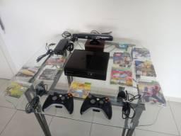 Xbox 360 Desbloqueado+KINECT ORIGINAL+2controles originais+ vários jogos PARCELO CARTÃO