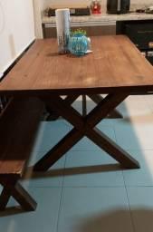 Vendo mesa banco e madeira