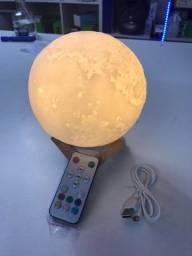 Luminária 3D Touch Lua Cheia LED