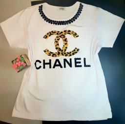 Título do anúncio: T-Shirt Baby Look Moda Luxo com Pedraria