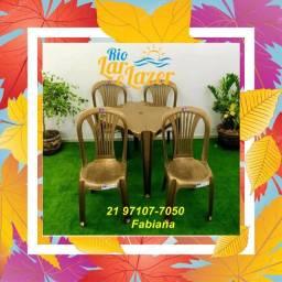 Título do anúncio: Conjunto de Mesa com Cadeiras de Plástico sem braço (cores)