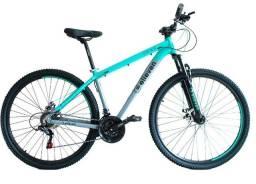 Título do anúncio: bicicleta aro 29 mtb tam 17 e 19 turq/cz gear freio a disco mecânico shimano