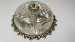 Linda Luminária Antiga teto Plafon cupula vidro metal bronze retro vintage