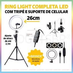 Ring Light Led Iluminador 26cm Completo com Tripé 210cm