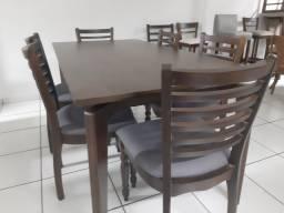 Imperdível-mesa madeira + 6 cadeiras de madeira na cor imbuia