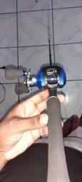 Vara de pesca fibra carbono 8/17lbs com Carretilha e linha multifilamento 0.30mm
