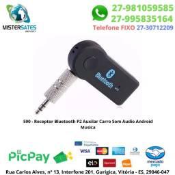 590 - Receptor Bluetooth P2 Auxilar Carro Som Audio Android Musica<br><br>