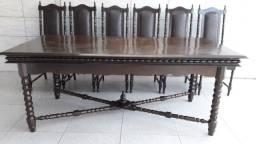 VR Final 6 cadeiras de couro brind mesa Colonial Imbuia torneada de 1500 por 1200