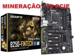 Placa mãe Mineração Gigabyte b250 Fintech - 12 PCIE