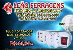Tomada plug eletrico dupla + USB