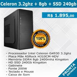 CPU - Celeron 3.2ghz + 8gb + SSD 240gb - Novo - Pronta Entrega
