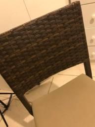 6 Cadeiras de rattan sintético e estofada