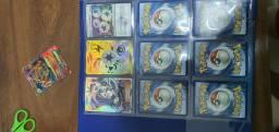 Cartas raras pokemon com ótima preservação+pasta de para por cartas pokemon