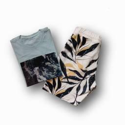 Bermuda moletom e camisa multimarca