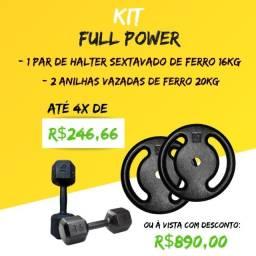 Par Halter/Dumbell de Ferro Sextavado 16KG + Par de Anilhas de ferro 20KG - Pronta Entrega
