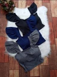 Blusas e cropped na malha canelada