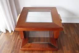 Mesa de Canto / Lateral / em Vidro / Madeira Marrom 50 cm x 65 cm x 65 cm