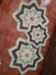 Conjunto de Tapetes em Crochê com 3 Peças Seminovo