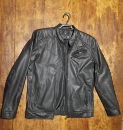 Jaqueta preta de couro legítimo tamanho P