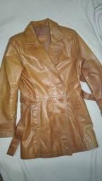 Casaco feminino de couro legítimo tamanho P