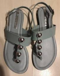 sandália rasteira moleca tachas - azul - tamanho 36