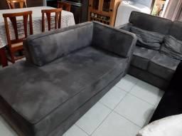 Conjunto de sofás cinza 2 e 3 lugares