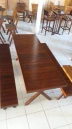 Mesa Fixa em Madeira Tampo vazado 2mt x 70cm c/ 2 bancos 2mt