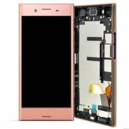 Frame completo para celular sony XZ F8331 rosa (touch+carcaça)