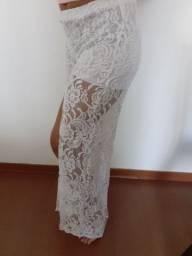 Calça branca pantalona de renda (Nova)