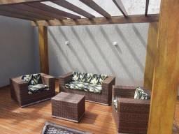 Conjunto de sofá caxias em fibra sintética