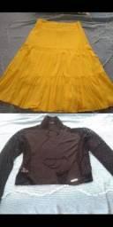 Saia Amarela e Blusa Preta