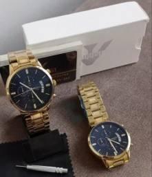 Relógio Nibosi luxo em aço prova daguá todos ponteiros funcionais chave ajuste