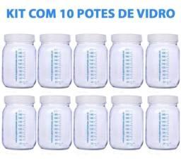 Kit 10 potes de vidro para armazenar leite materno - Novo