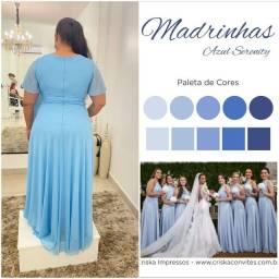 Título do anúncio: Vestido madrinha azul serenit ( plus size)