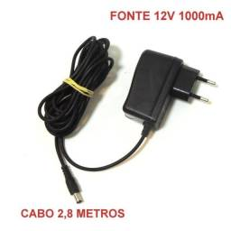 Fonte 12v Cabo 2,8 metros 1000mA Power Supply Bivolt