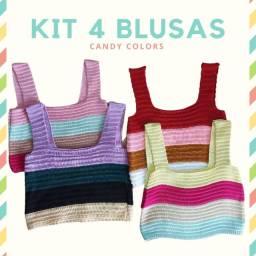 Kit 4 Blusinhas Cropped Tricot Coloridas Candy Coleção Verão