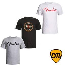 Kit 3x Camisetas Camisas Fender Guitarra Baixo Rock